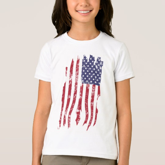 Vintage Distressed Tattered US Flag Girls' American Apparel Fine Jersey T-Shirt