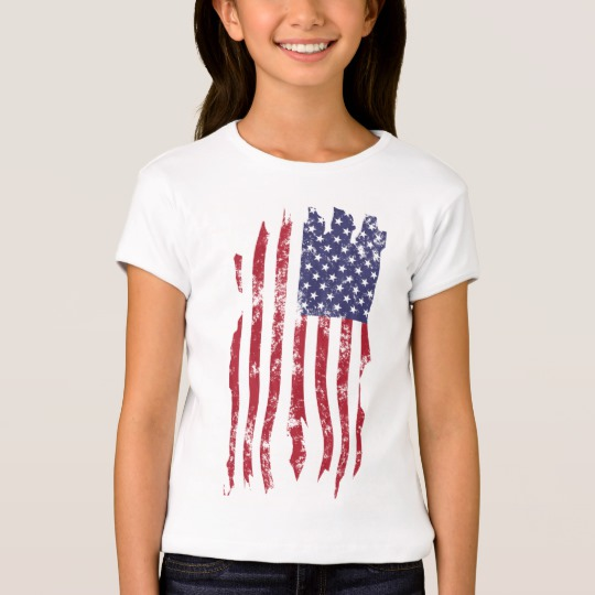 Vintage Distressed Tattered US Flag Girls' Bella+Canvas Fitted Babydoll T-Shirt