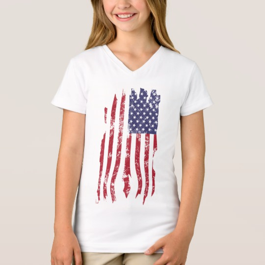 Vintage Distressed Tattered US Flag Girls' Fine Jersey V-Neck T-Shirt