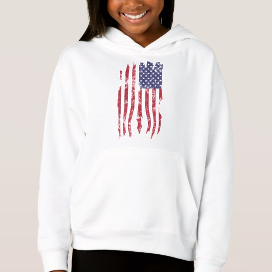 Vintage Distressed Tattered US Flag Girls' Fleece Pullover Hoodie