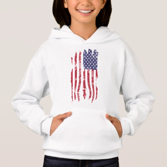 Vintage Distressed Tattered US Flag Girls' Hanes ComfortBlend® Hoodie
