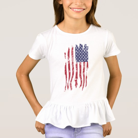 Vintage Distressed Tattered US Flag Girls' Ruffle T-Shirt
