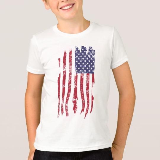 Vintage Distressed Tattered US Flag Kids' American Apparel Fine Jersey T-Shirt