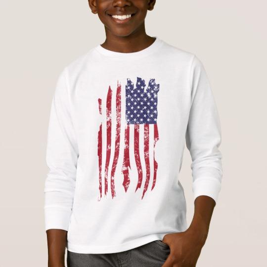 Vintage Distressed Tattered US Flag Kids' Basic Long Sleeve T-Shirt