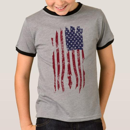 Vintage Distressed Tattered US Flag Kids' Basic Ringer T-Shirt