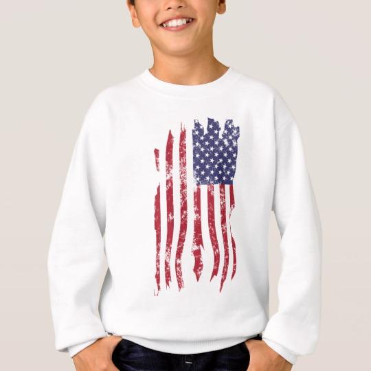 Vintage Distressed Tattered US Flag Kids' Hanes ComfortBlend® Sweatshirt