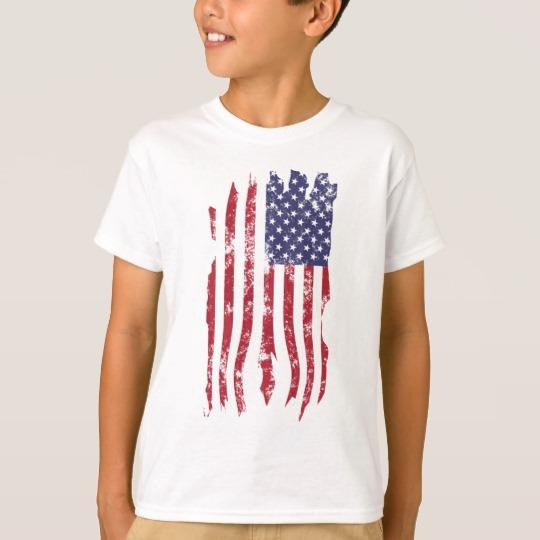 Vintage Distressed Tattered US Flag Kids' Hanes TAGLESS® T-Shirt