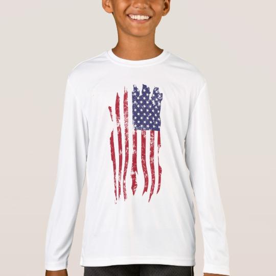 Vintage Distressed Tattered US Flag Kids' Sport-Tek Competitor Long Sleeve T-Shirt
