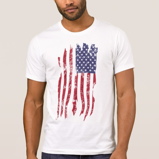 Vintage Distressed Tattered US Flag Men's Alternative Apparel Crew Neck T-Shirt
