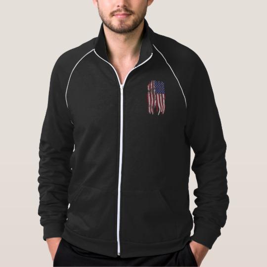 Vintage Distressed Tattered US Flag Men's American Apparel California Fleece Track Jacket