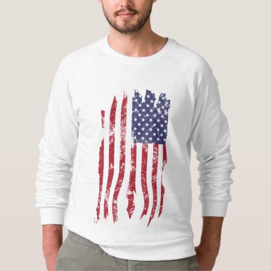 Vintage Distressed Tattered US Flag Men's American Apparel Raglan Sweatshirt