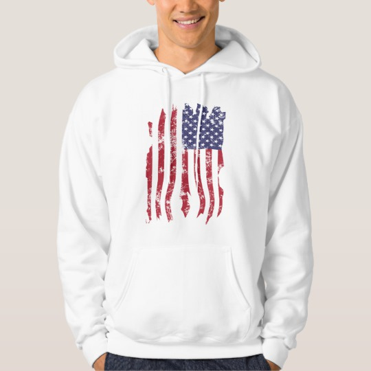 Vintage Distressed Tattered US Flag Men's Basic Hooded Sweatshirt