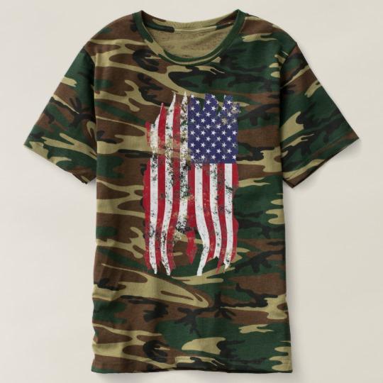 Vintage Distressed Tattered US Flag Men's Camouflage T-Shirt