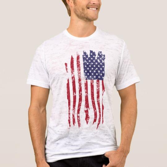 Vintage Distressed Tattered US Flag Men's Canvas Fitted Burnout T-Shirt