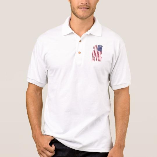 Vintage Distressed Tattered US Flag Men's Gildan Jersey Polo Shirt