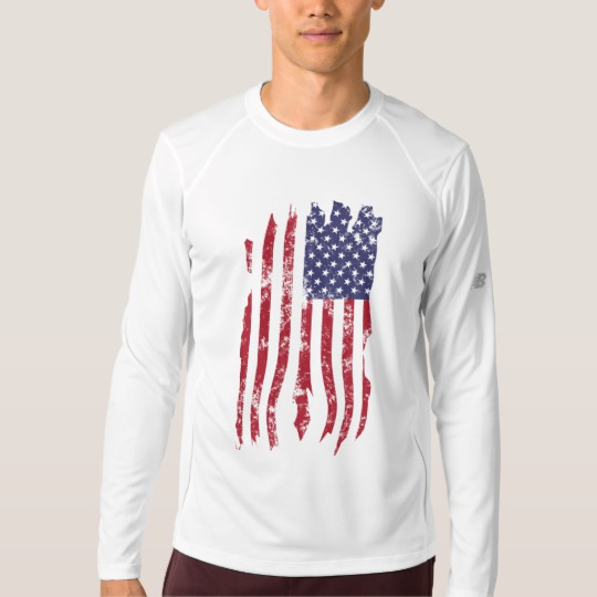 Vintage Distressed Tattered US Flag Men's New Balance Long Sleeve T-Shirt