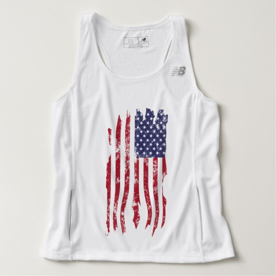 Vintage Distressed Tattered US Flag Men's New Balance Tempo Running Tank Top