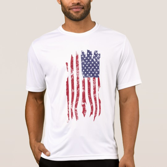 Vintage Distressed Tattered US Flag Men's Sport-Tek Competitor T-Shirt