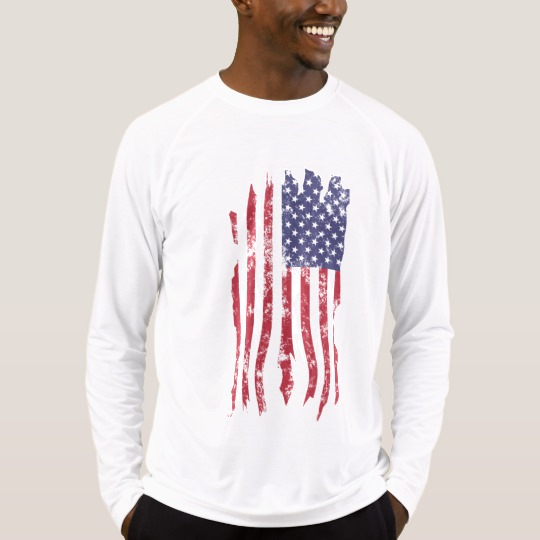 Vintage Distressed Tattered US Flag Men's Sport-Tek Fitted Performance Long Sleeve T-Shirt