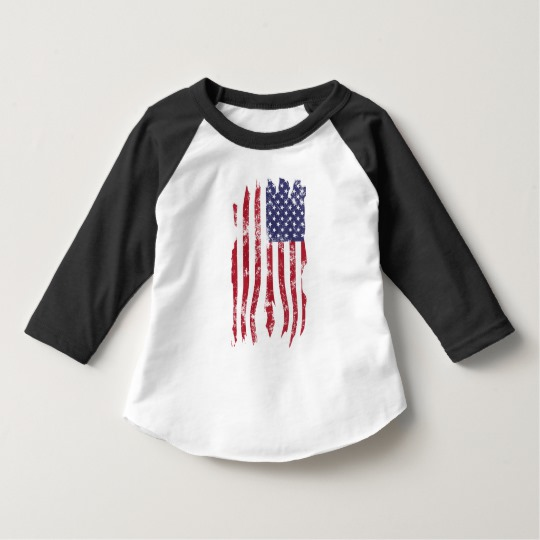 Vintage Distressed Tattered US Flag Toddler American Apparel 3/4 Sleeve Raglan T-Shirt