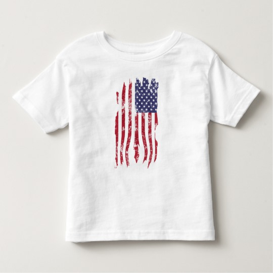 Vintage Distressed Tattered US Flag Toddler Fine Jersey T-Shirt