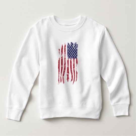 Vintage Distressed Tattered US Flag Toddler Fleece Sweatshirt