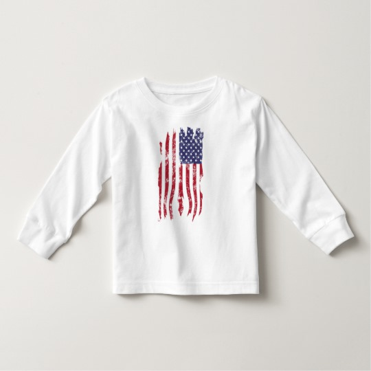 Vintage Distressed Tattered US Flag Toddler Long Sleeve T-Shirt