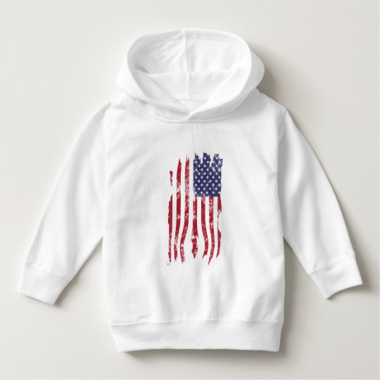 Vintage Distressed Tattered US Flag Toddler Pullover Hoodie