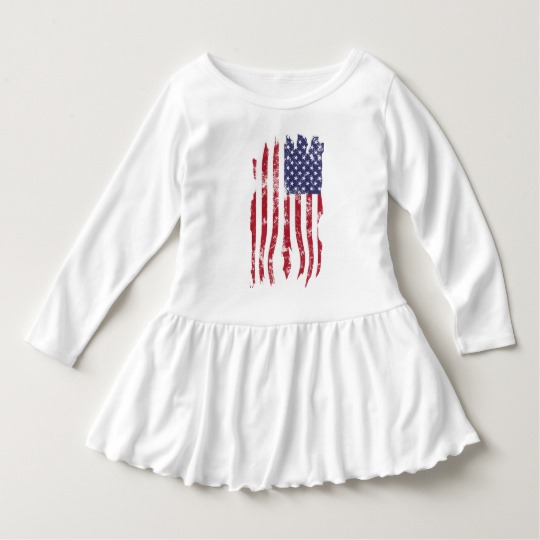 Vintage Distressed Tattered US Flag Toddler Ruffle Dress