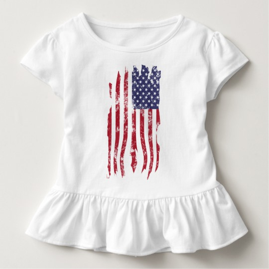 Vintage Distressed Tattered US Flag Toddler Ruffle Tee