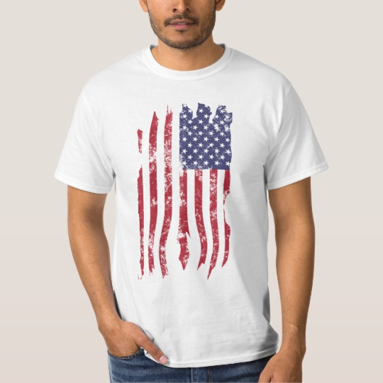 Vintage Distressed Tattered US Flag Value T-Shirt