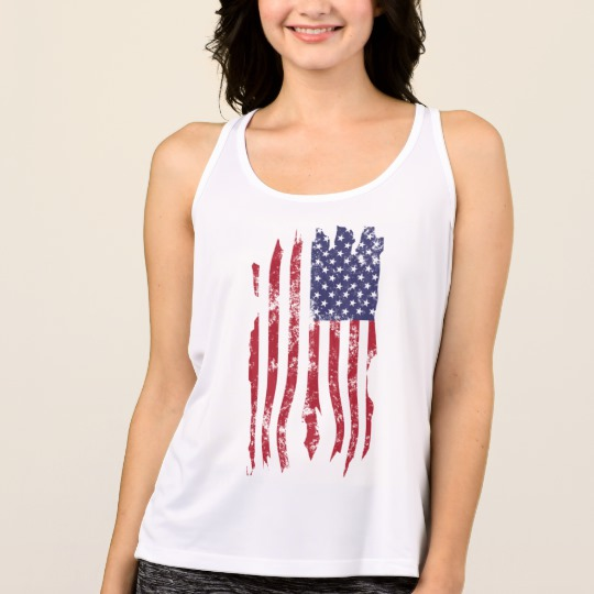 Vintage Distressed Tattered US Flag Women's All Sport Performance Tank Top