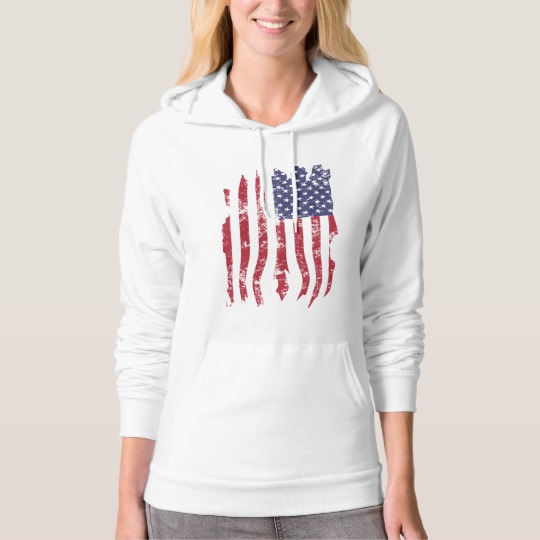 Vintage Distressed Tattered US Flag Women's American Apparel California Fleece Pullover Hoodie
