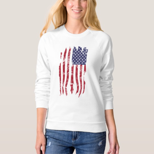Vintage Distressed Tattered US Flag Women's American Apparel Raglan Sweatshirt