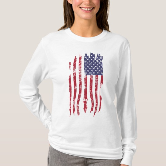 Vintage Distressed Tattered US Flag Women's Basic Long Sleeve T-Shirt