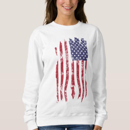 Vintage Distressed Tattered US Flag Women's Basic Sweatshirt