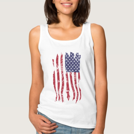 Vintage Distressed Tattered US Flag Women's Basic Tank Top
