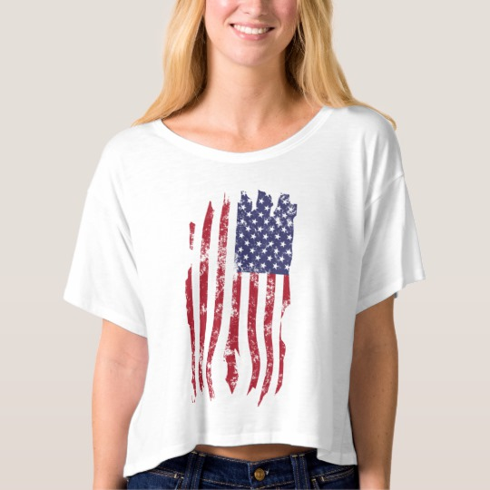 Vintage Distressed Tattered US Flag Women's Bella+Canvas Boxy Crop Top T-Shirt