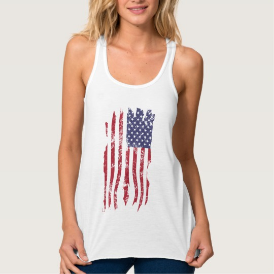 Vintage Distressed Tattered US Flag Women's Bella+Canvas Flowy Racerback Tank Top