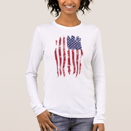 Vintage Distressed Tattered US Flag Women's Bella+Canvas Long Sleeve T-Shirt