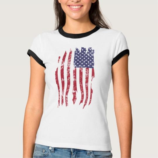 Vintage Distressed Tattered US Flag Women's Bella+Canvas Ringer T-Shirt