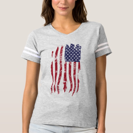 Vintage Distressed Tattered US Flag Women's Football T-Shirt