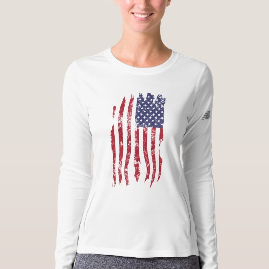 Vintage Distressed Tattered US Flag Women's New Balance Long Sleeve T-Shirt
