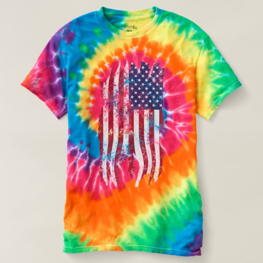 Vintage Distressed Tattered US Flag Women's Spiral Tie-Dye T-Shirt