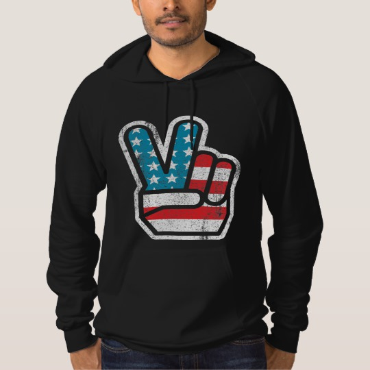 Peace Sign US Flag American Apparel California Fleece Pullover Hoodie