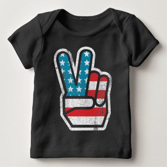 Peace Sign US Flag Baby American Apparel Lap T-Shirt