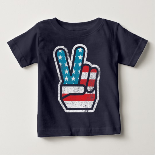 Peace Sign US Flag Baby Fine Jersey T-Shirt
