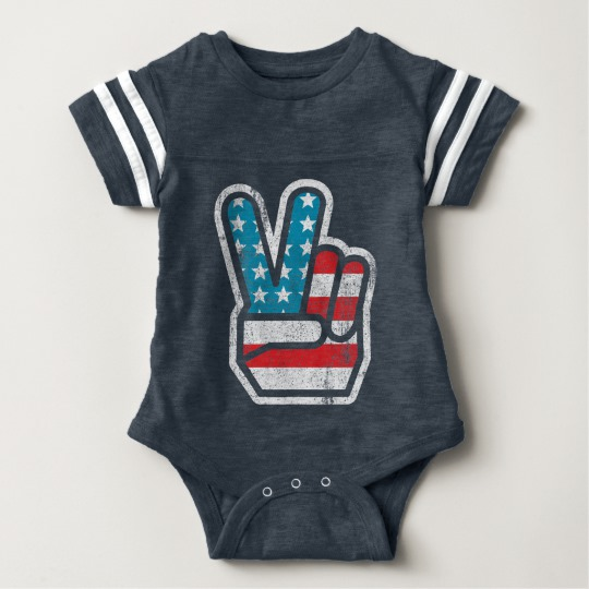 Peace Sign US Flag Baby Football Bodysuit
