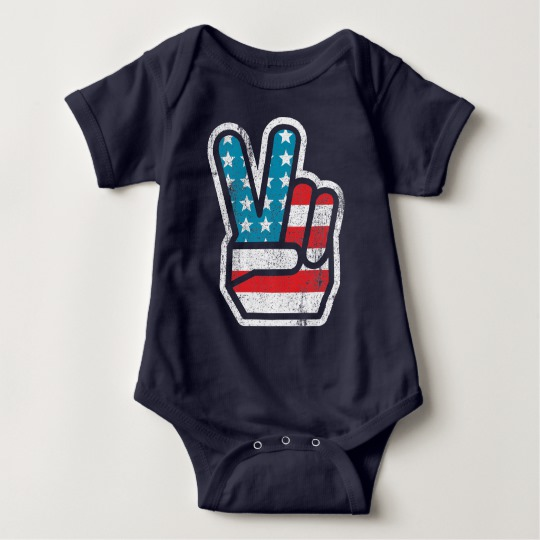Peace Sign US Flag Baby Jersey Bodysuit