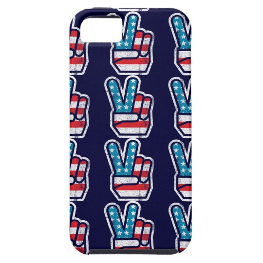 Peace Sign US Flag Case-Mate Tough iPhone SE + iPhone 5/5S Case